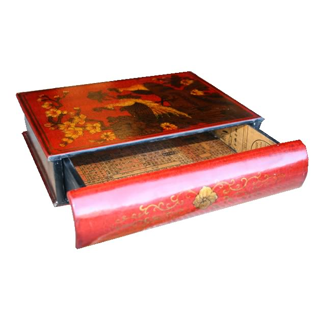 Red A4 Size Bookshape Jewellery Box - Drawer style