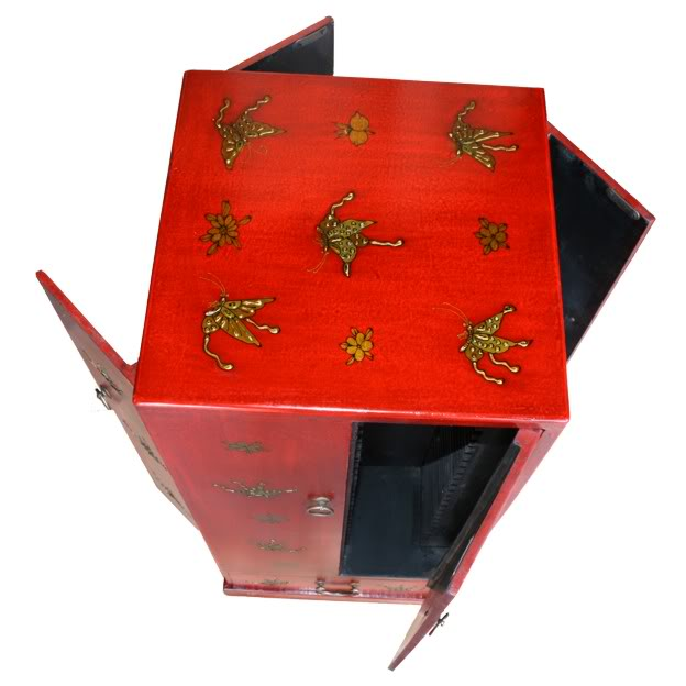 Red Four Door One Drawer Leather CD / DVD Tower - Butterfly- Top Open View