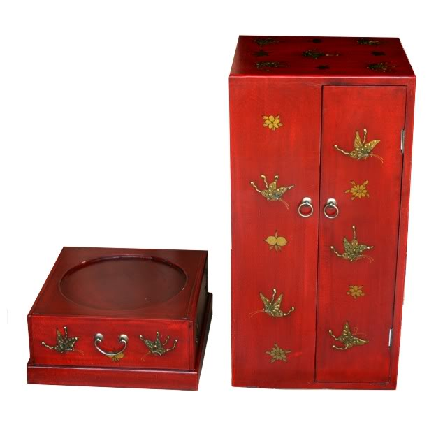 Red Four Door One Drawer Leather CD / DVD Tower - Butterfly - Front View