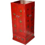 Red Butterflies Painted Rotating CD/DVD Tower