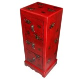 Red Three-Drawer Painted CD/DVD Cabinet - Butterflies
