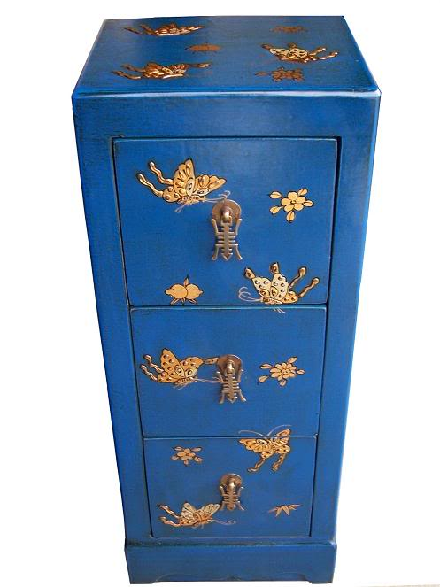 Blue Three Drawers Leather CD / DVD Cabinet - Butterfly
