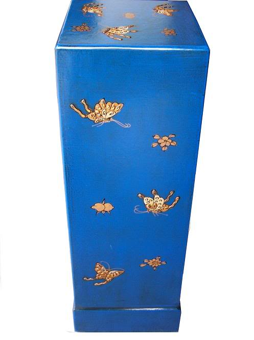 Blue Three Drawers Leather CD / DVD Cabinet - Butterfly - Side View