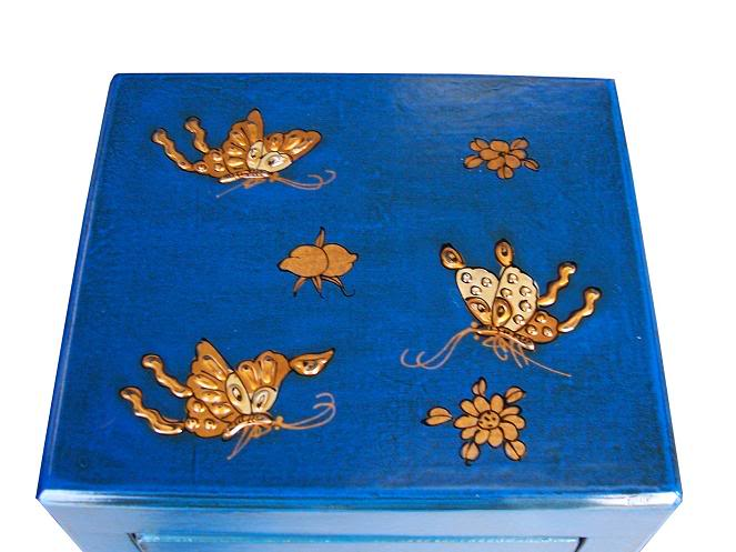 Blue Three Drawers Leather CD / DVD Cabinet - Butterfly -Top