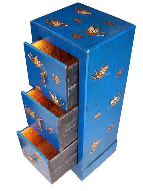 Blue Three Drawers Leather CD / DVD Cabinet - Butterfly - Open View