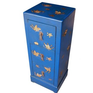 Blue Three-Drawer Painted CD/DVD Cabinet - Butterflies