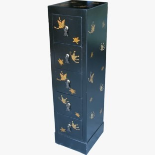 Black Five-Drawer Painted CD/DVD Tower - Butterflies