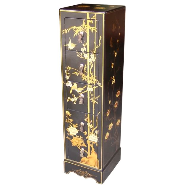 Black Five Drawers Painted CD / DVD Tower - Flower