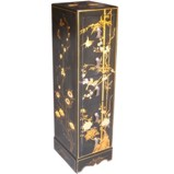 Black Five-Drawer Painted CD/DVD Tower - Flower