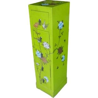 Green Five-Drawer Painted CD/DVD Tower - Bird & Flowers