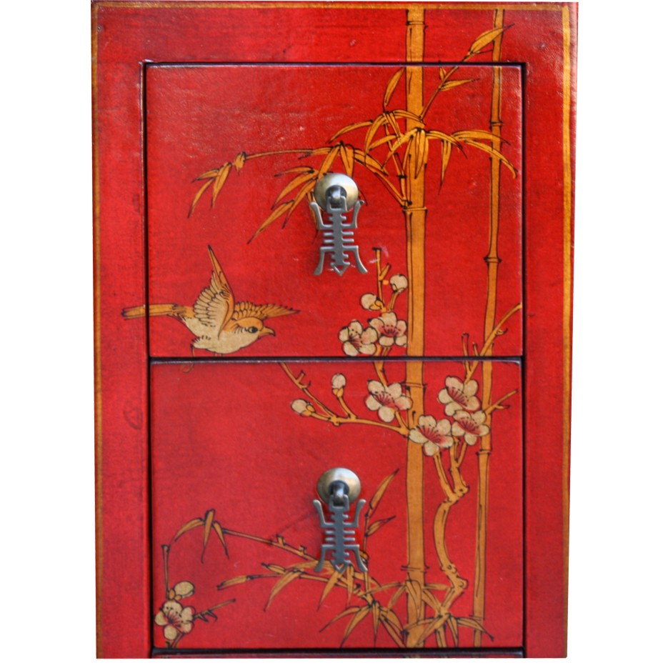 Red Five Drawers Leather CD / DVD Cabinet - Flower