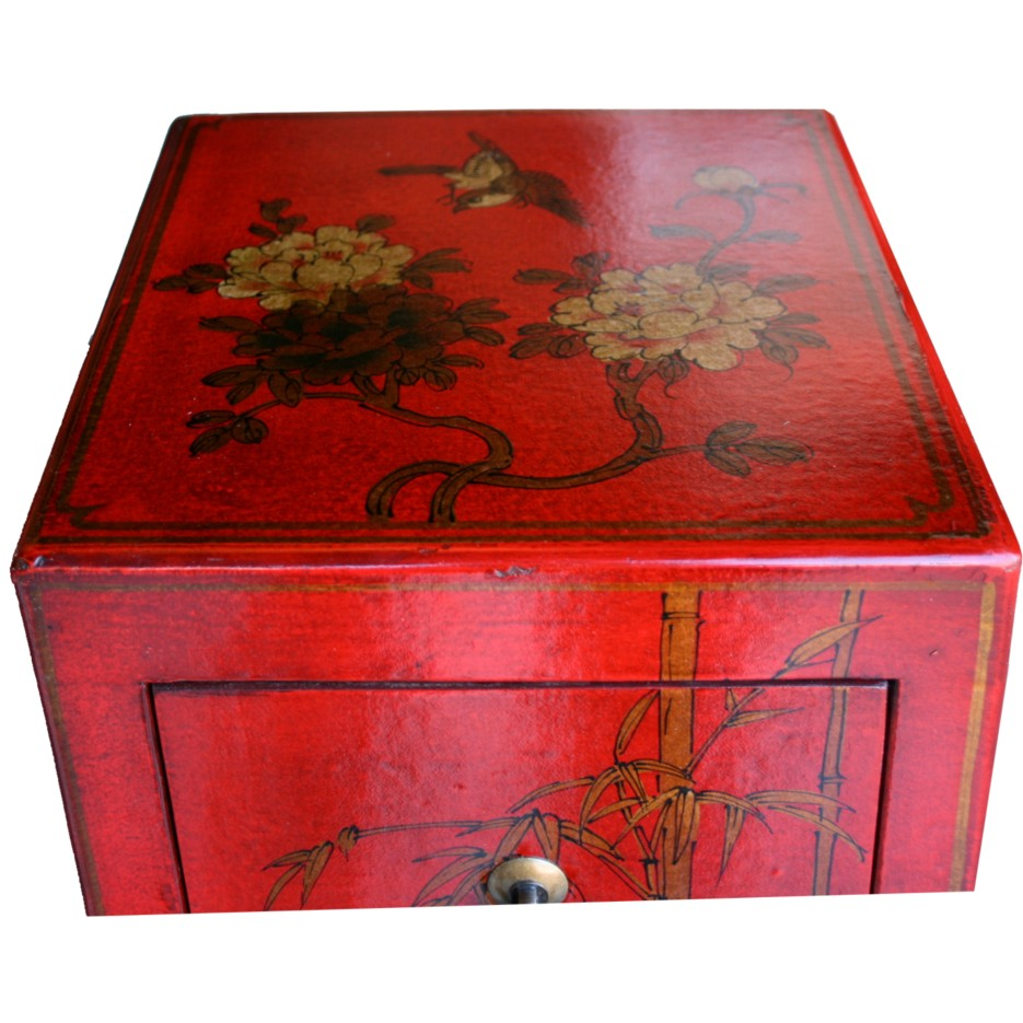 Red Five Drawers Leather CD / DVD Cabinet - Flower - Side View
