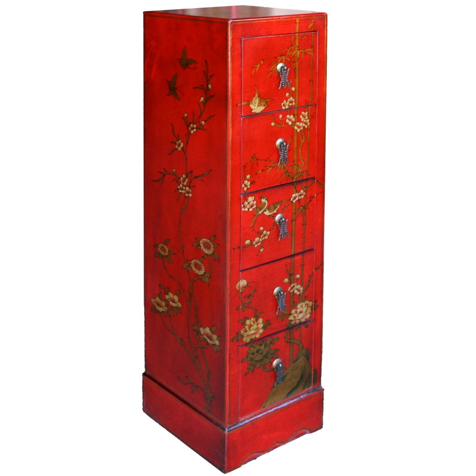 Red Five Drawers Leather CD / DVD Cabinet - Flower - Top