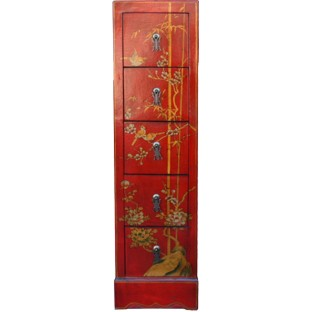 Red Five-Drawer Painted CD/DVD Cabinet - Flower