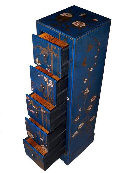 Blue Five Drawers Leather CD / DVD Cabinet - Flower - Open View