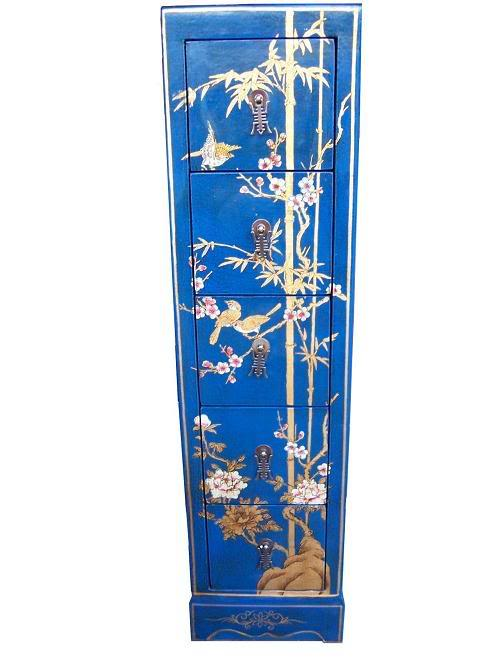 Blue Five Drawers Leather CD / DVD Cabinet - Flower - Front View