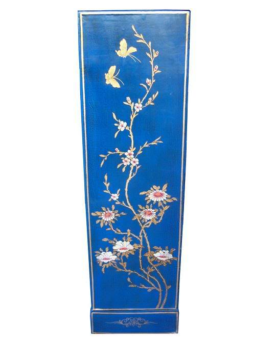 Blue Five Drawers Leather CD / DVD Cabinet - Flower - Side View