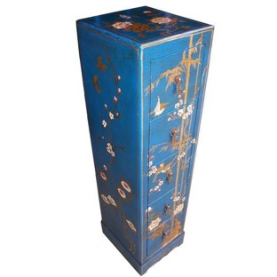 Blue Five-Drawer Painted CD/DVD Cabinet - Flower