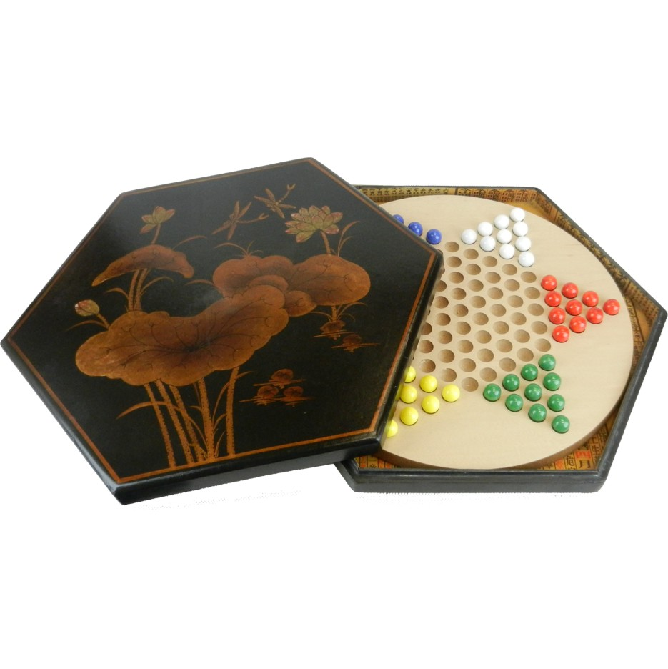Large Black Leather Chinese Checkers Set - Dragonflies - Open