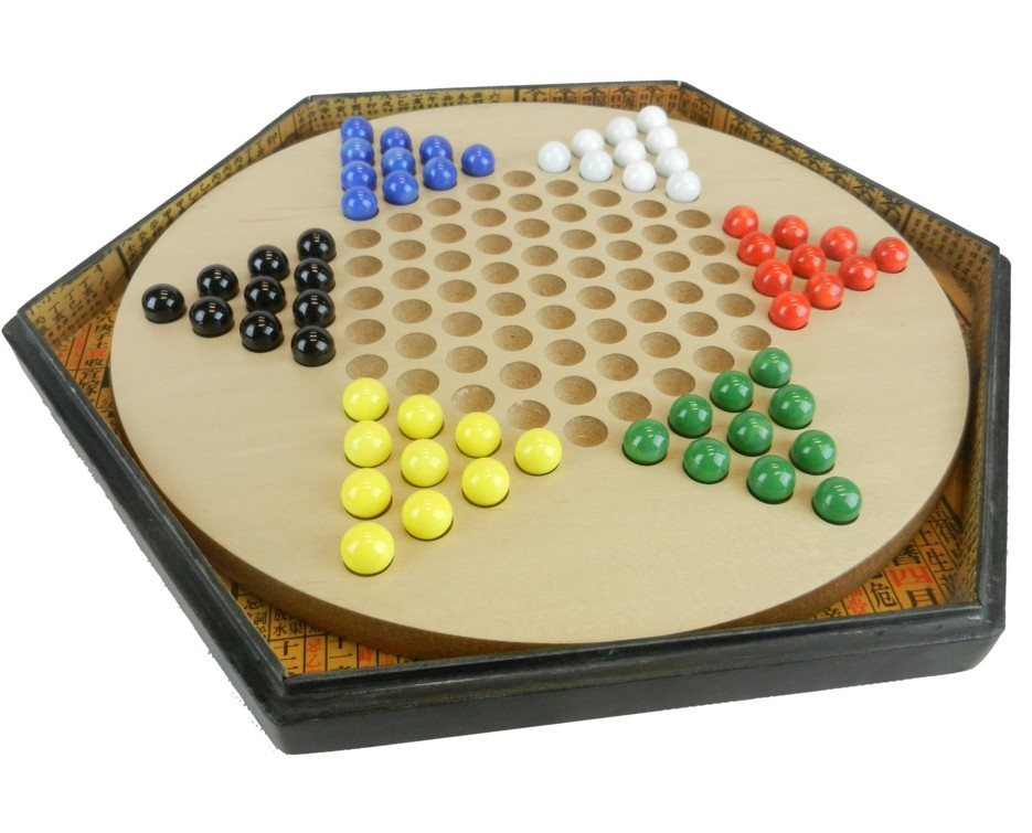 Large Black Leather Chinese Checkers Set - Dragonflies - Open View