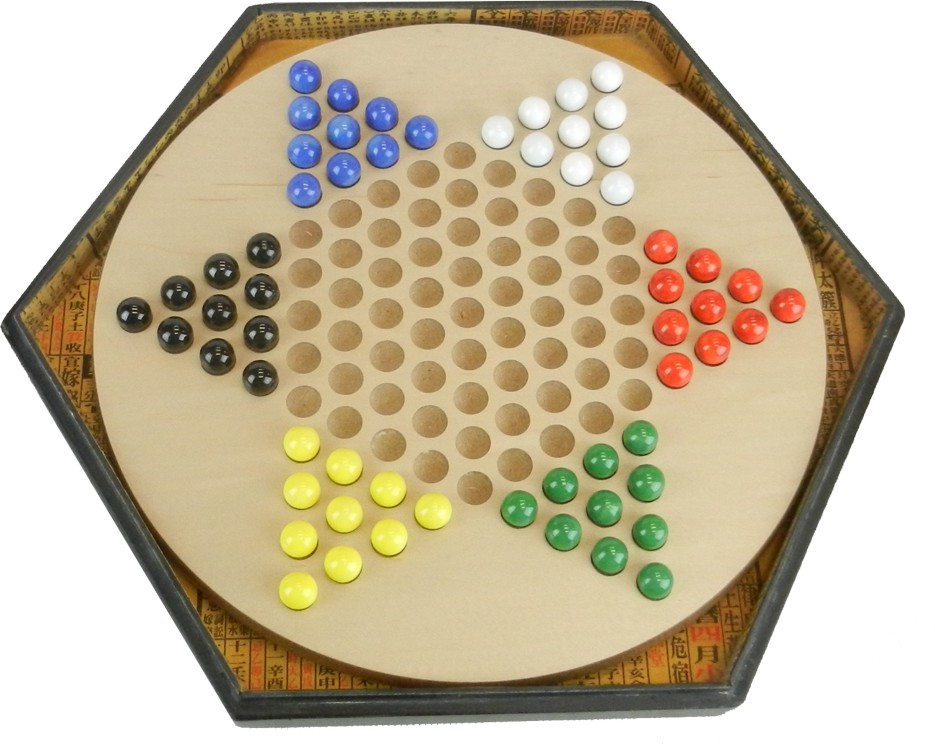Large Black Leather Chinese Checkers Set - Dragonflies