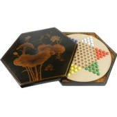 Black Painted Chinese Checkers Set - Dragonfly