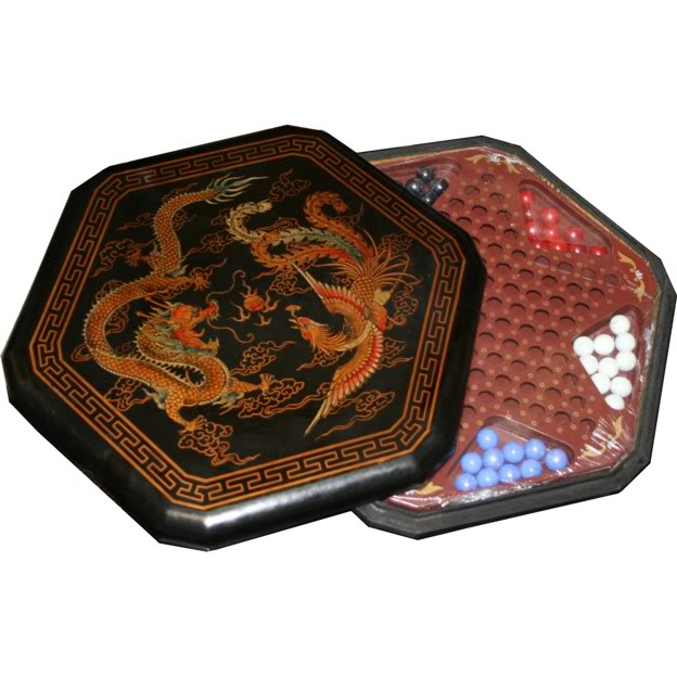 Large Black Leather Chinese Checkers Set - Dragon & Phoenix