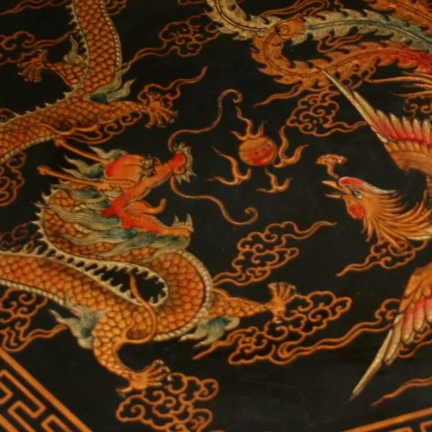 Large Black Leather Chinese Checkers Set - Dragon & Phoenix - Detail