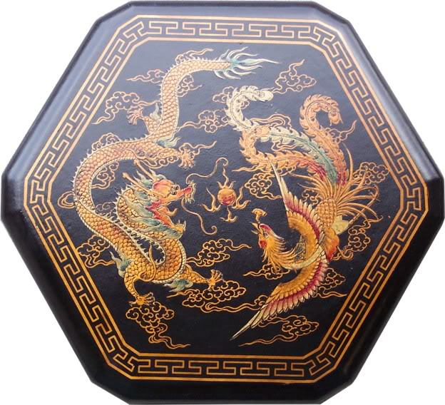 Large Black Leather Chinese Checkers Set - Dragon & Phoenix  -Top