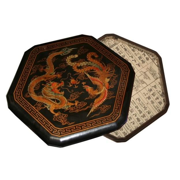 Large Black Leather Chinese Checkers Set - Dragon & Phoenix - Open