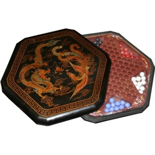 Black Painted Chinese Checkers Set - Dragon & Phoenix