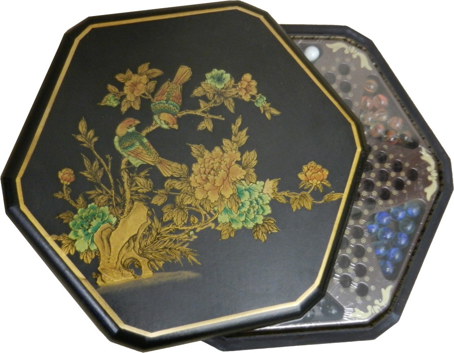 Large Black Leather Chinese Checkers Set - Flower & Bird