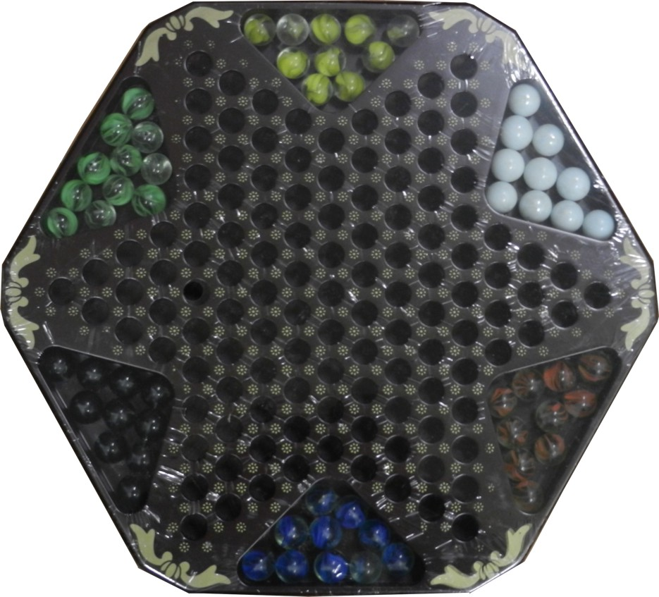 Large Black Leather Chinese Checkers Set - Flower & Bird - Checkers