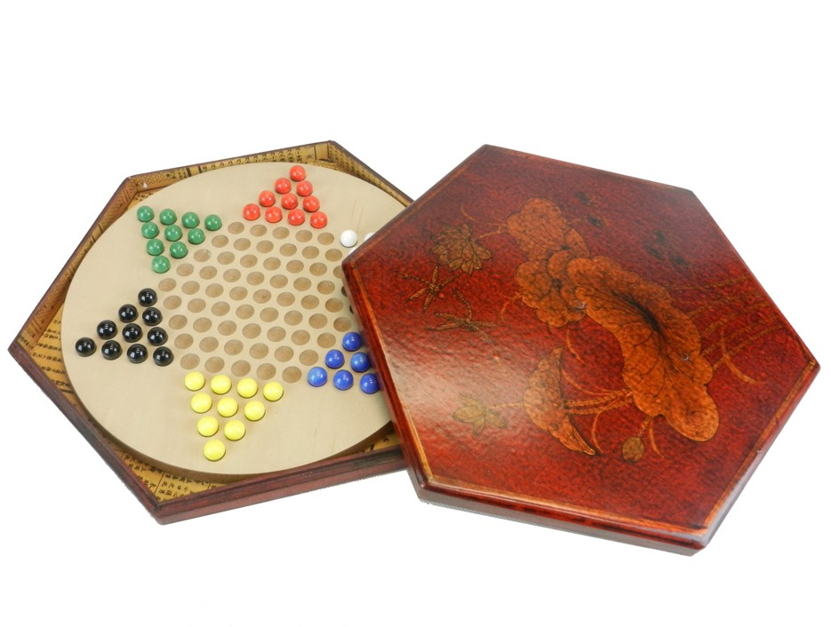 Chinese Checkers Dragonfly in Red Painted Case