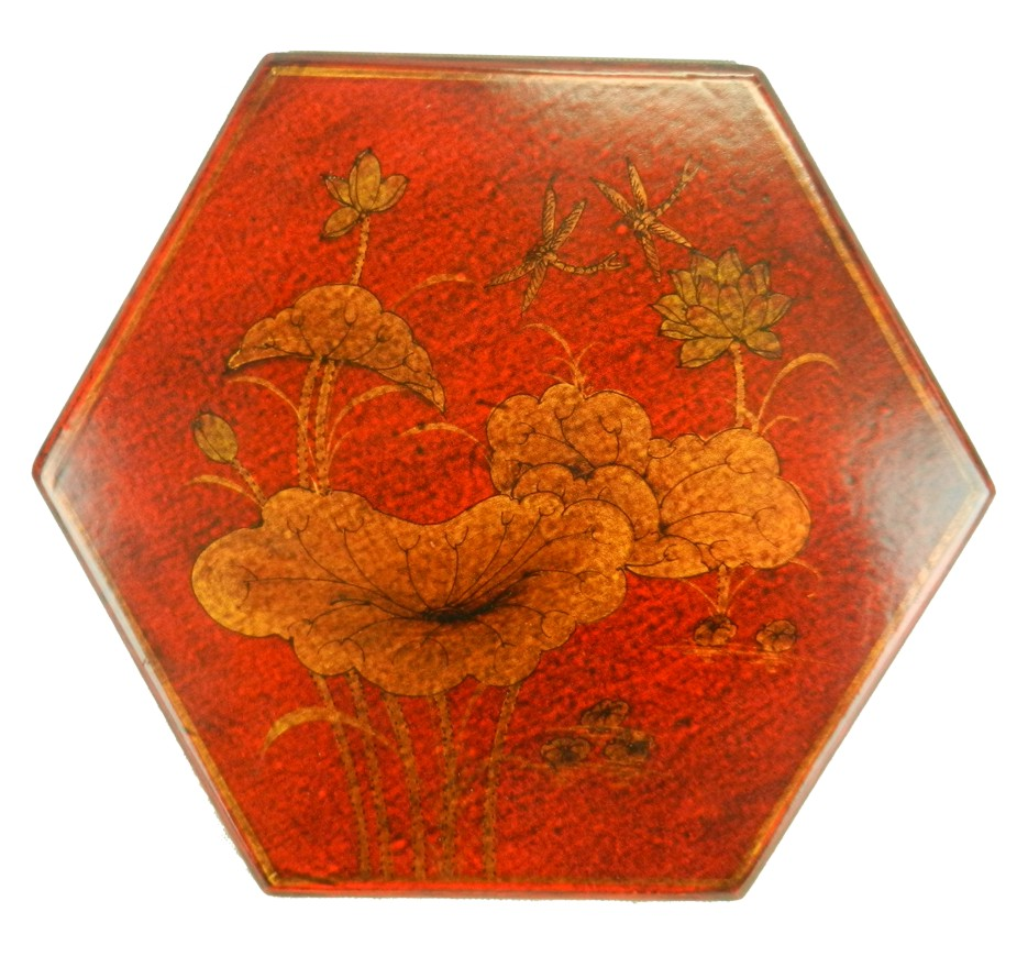 Chinese Checkers Dragonfly in Red Painted Case Top View