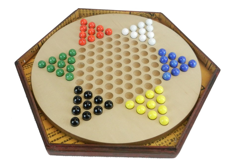 Chinese Checkers Dragonfly in Red Painted Case Side View