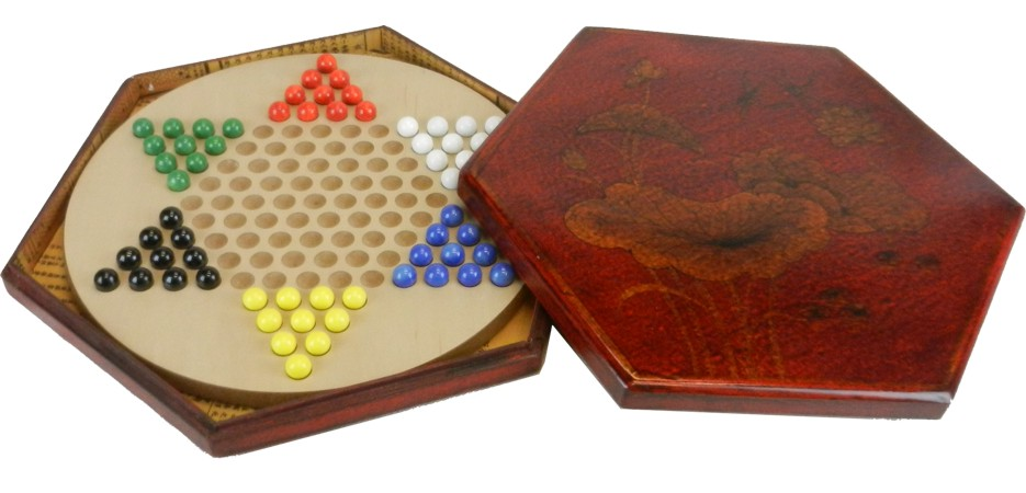 Chinese Checkers Dragonfly in Red Painted Case Open view