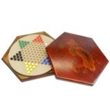 Large Red Painted Chinese Checkers Set - Dragonfly