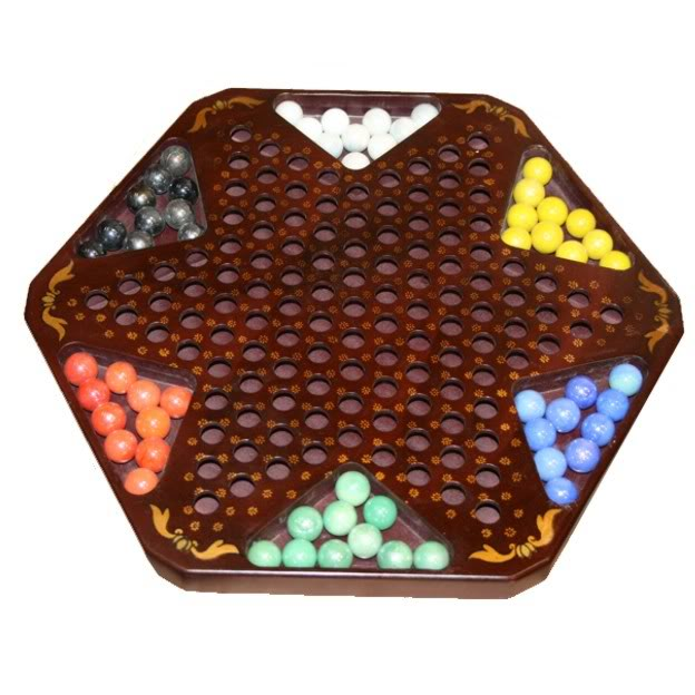 Large Black Leather Chinese Checkers Set - Dragon & Phoenix - Checkers