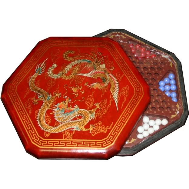 Large Red Leather Chinese Checkers Set - Dragon & Phoenix -Open View