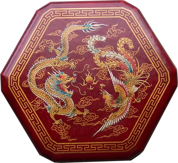 Large Red Leather Chinese Checkers Set - Dragon & Phoenix - Top