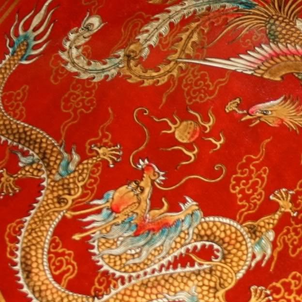 Large Red Leather Chinese Checkers Set - Dragon & Phoenix - Detail