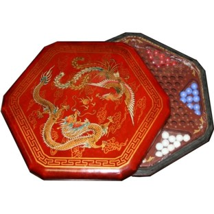 Red Painted Chinese Checkers Set - Dragon & Phoenix