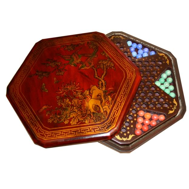 Large Red Leather Chinese Checkers Set - Flower & Bird