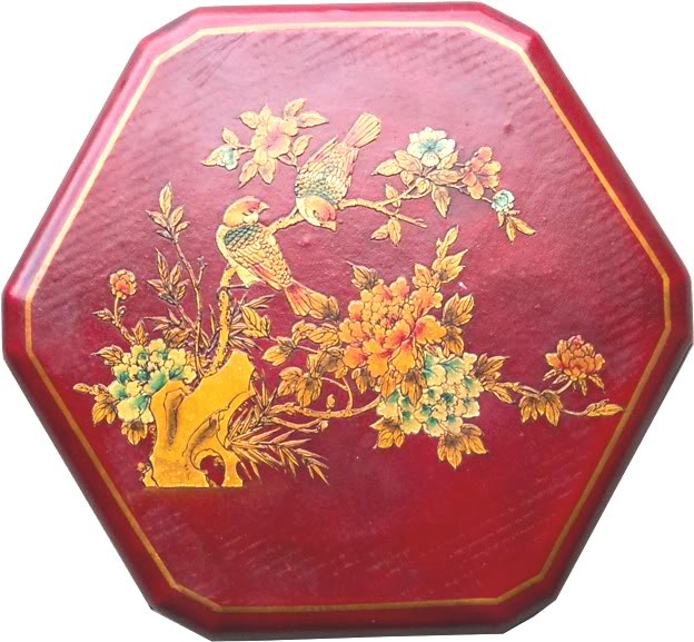 Large Red Leather Chinese Checkers Set - Flower & Bird - Top View
