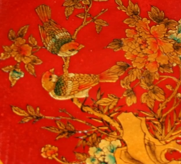 Large Red Leather Chinese Checkers Set - Flower & Bird - Detail