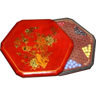 Red Painted Chinese Checkers Set - Flower & Bird