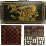 Black Red Chess Set in Oriental Painted Case
