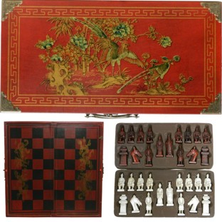 Red Chess Set in Oriental Painted Case