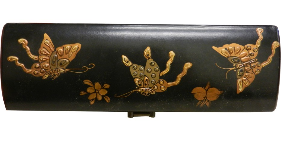 Black Leather Chopstick / Pencil Box - Open View